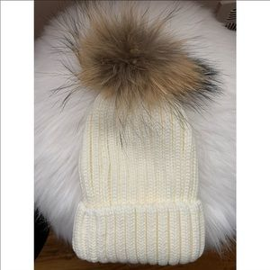 2c17a8a47656d Accessories - Ivory Winter Beanie with Fur Pom Pom